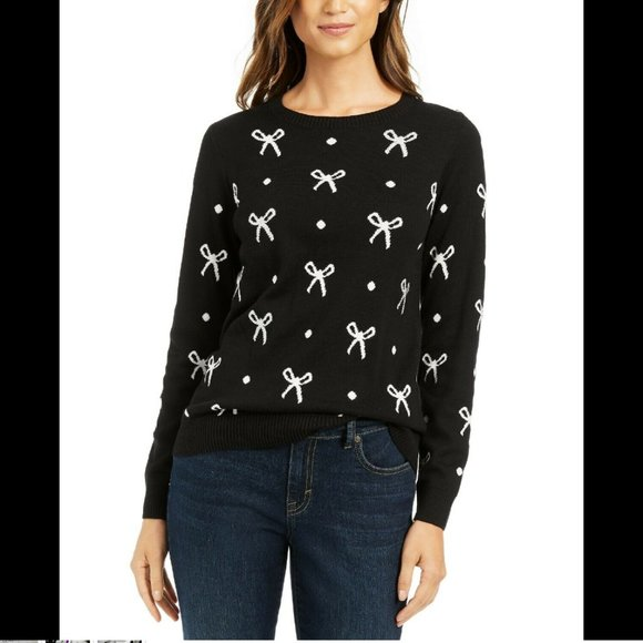 Charter Club Sweaters - Charter Club Women's Sweater Beaded-Bow Printed